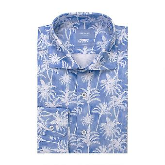 Tresanti Palm Tree Shades Of Blue Cotton Long Sleeve Men's Shirt