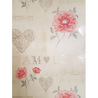 Floral Hearts Wallpaper Musical Notes Red Beige Silver Metallic Paste Wall