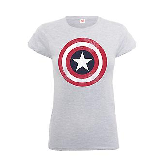 Captain America T Shirt Distressed Shield new Official Marvel comics Kids Grey