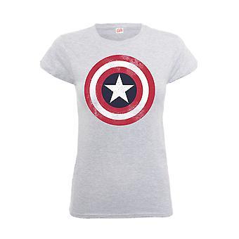 キャプテンアメリカTシャツディストレスシールド新しい公式マーベルコミックキッズグレー