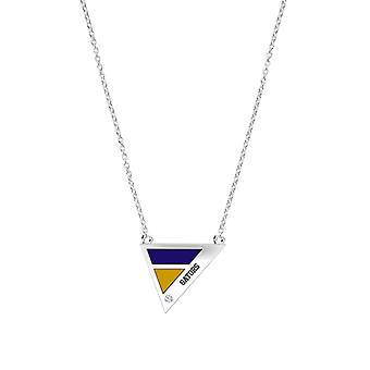 San Francisco State University Engraved Sterling Silver Diamond Geometric Necklace In Purple and Yellow