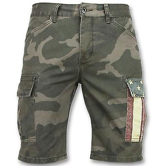 Camouflage Shorts - Bermuda Trousers - 9017 - Green Grey