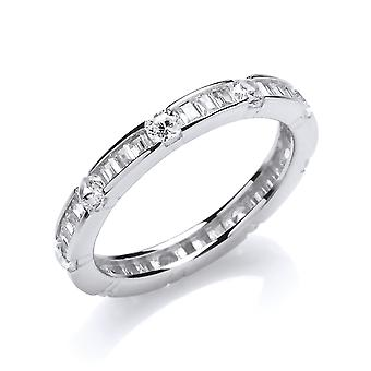 Jewelco London Ladies Rhodium Plated Sterling Silver white baguette cubic Zirconia Figaro Style Eternity Ring