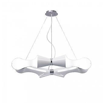 Mantra Ora Wisiorek 8 Płaskie okrągłe światło E27, błyszczący biały/biały akryl/polerowany chrom