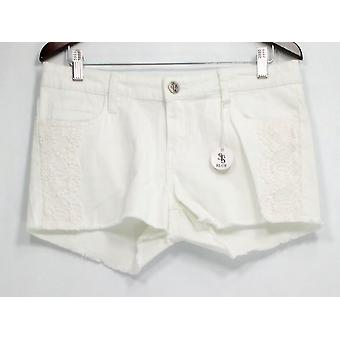 STS Blue Jr Shorts Impreziositi Denim Front zip w/ Tasche Bianche