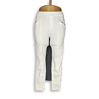 H de Halston Women's Petite Jeans Knit Denim Tobillo Longitud Blanco A301012