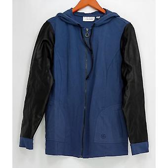 Linea por Louis Dell ' Olio mulheres ' s camisola com capuz Zip frente azul A267865