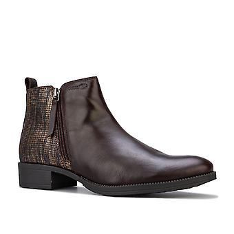 Womens Geox Laceyin Ankle Boots in coffee.