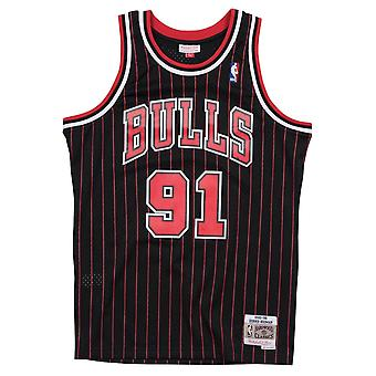 Mitchell & Ness Nba Chicago Bulls Dennis Rodman 1995-96 Swingman Jersey do preto risca de giz
