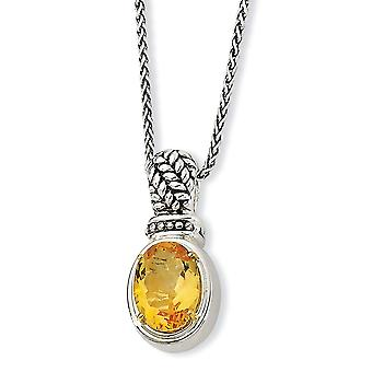 925 Sterling Silver finish Lobster Claw Closure With 14k 5.50Citrine Necklace Jewelry Gifts for Women