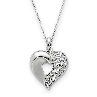 925 Sterling Silver Polished Gift Boxed Spring Ring Rhodium plated Close To My Love Heart 18inch Necklace Jewelry Gifts