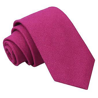 Mörk Fuchsia Hopsack linne smal slips