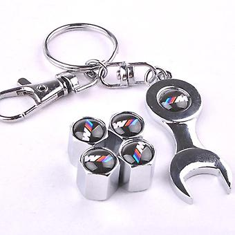 Set of 4 Chrome Anti-Theft Car Tyre Air Dust Valve Stem Cap With Keyring Spanner For BMW Mpower