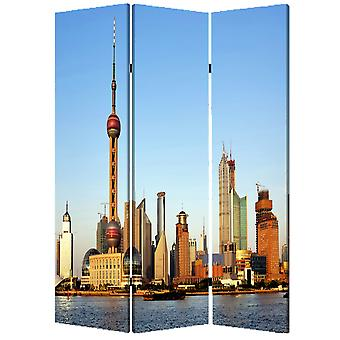 "1"" x 48"" x 72"" Multi Color Wood Canvas China  Screen"