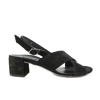 Paul Green 7066-01 Black Suede Leather Womens Slingback Heeled Sandals