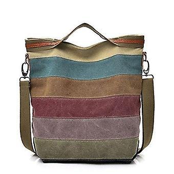 Vincenza multi-farve hobo store stribede lærred håndtaske tværs kroppen bør tote-håndtaske