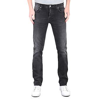 Nudie Jeans Co Grim Tim Slim Tapered Concrete Black Denim Jeans
