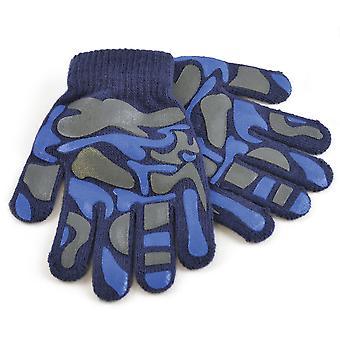 Childrens Boys Camo Design Winter Magic Gloves