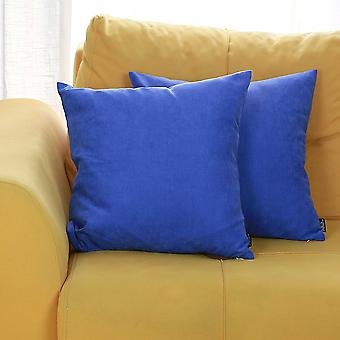 Set of 2 Sapphire Blue Brushed Twill Decorative Throw Pillow Covers