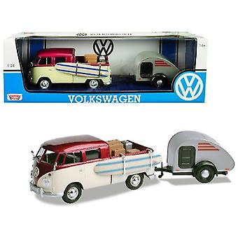 Volkswagen T1 Pickup Truck Purple and Cream with Surfboard, Accessories and Gray Teardrop Trailer 1/24 Diecast Model Car by Motormax