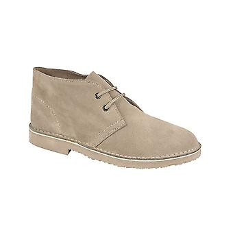 Roamers Stone Real Suede Desert Boot Unlined Tpr Sole