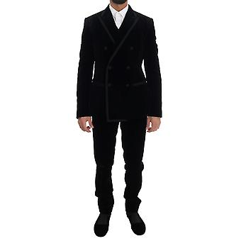 Dolce & Gabbana Black Velvet Double Breasted Slim Suit