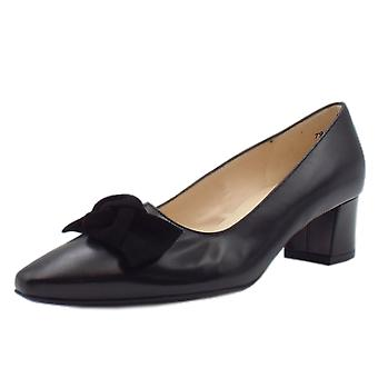 Peter Kaiser Binella Mid Heel Black Leather Court Shoes With Suede Bow