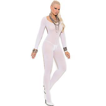 Womens Plus Size Full Figure Opaque Long Sleeve Open Crotch Bodystocking Hosiery
