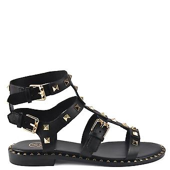 Ash PACIFIC Gladiator Sandals Black Leather & Studs