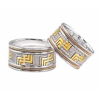 Tricolor wedding rings Greek model