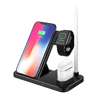 10W 4-in-1 qi fast charging wireless charger pad for smart phone iphone samsung apple watch series apple airpods apple pencil