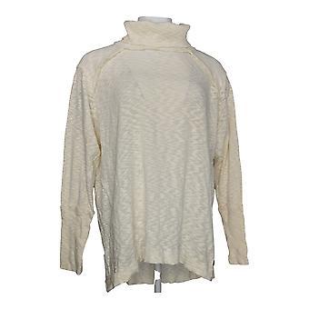 Peace Love World Women's Plus Sweater Slub Knit Turtleneck Ivory A296693