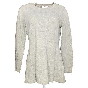 Isaac Mizrahi Live! Women's Sweater Cashmere Peplum Light Gray A281354