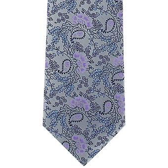 Michelsons di Londra naturale floreale poliestere cravatta - Silver/Purple