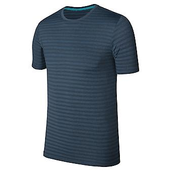 Allthemen Men's Round Neck Striped Stretch Short T-Shirt