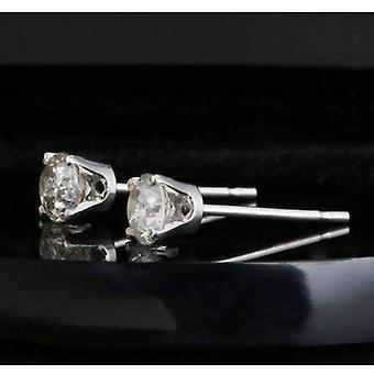 Véritable 0.20ctw boucles d'oreilles de goujon de diamant 14k or blanc
