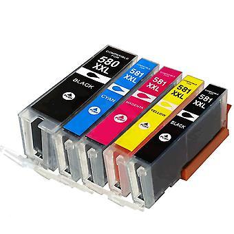 RudyTwos-Ersatz für Canon PGI-580BKXXL CLI-581XXL Set Tintenpatrone schwarz Cyan Magenta & Gelb (Extra hoher Ertrag) kompatibel mit Pixma TS8150, TS8151, TS8152, TS9150, TS9155