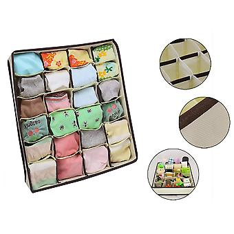 2 Pieces Storage Boxes For Underwear And Other Small Accessories 24 Cells - Foldable Drawer Dividers For Storing Socks Scarves Brassiere (beige)