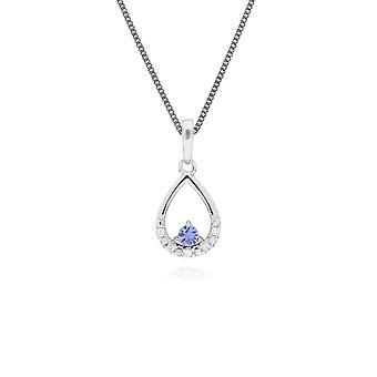 Classic Round Tanzanite & Diamond Pear Shaped Pendant Necklace in 9ct White Gold 162P0220099