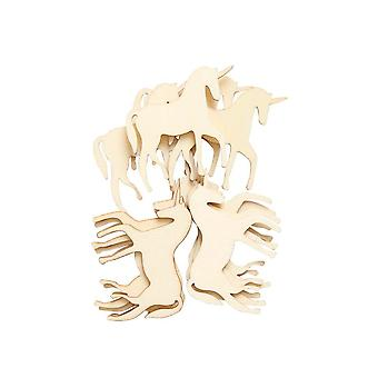LAST FEW - 12 Wooden 50mm Unicorn Papercraft Embellishments | Card Making Toppers & Scrapbooking Supplies
