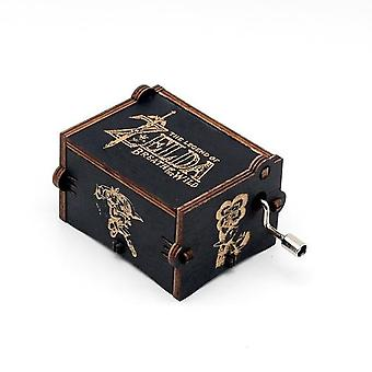 Zelda Hand Crank Vintage Engraved Wooden Music Box - Song Of Storms From Ocarina Of Time