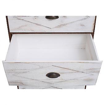 Rebecca meble Cassese 6 biały brązowy drewno szuflady Shabby Chic Pokój Vintage