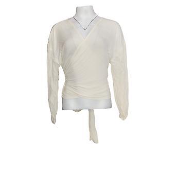Du Jour Women's Top Drop Shoulder Long-Sleeve Wrap Front Ivory A343621