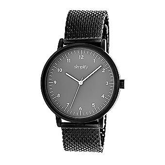 Simplify The 3200 Mesh-Bracelet Watch - Black/Grey