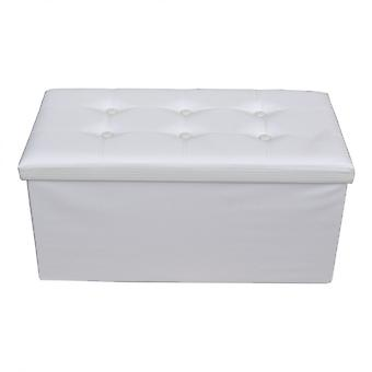 Rebecca Furniture Puff Stool Baule White Design Moderno Container 38x76x38