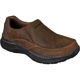 Skechers Mens Expended Helano Slip On Leather Shoe