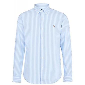 Ralph Lauren Polo Shirt Mens Blauwe Dikke Streep Oxford Katoen