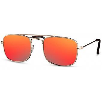 النظارات الشمسية الرجال مستطيلة الرجال كات. 3 ذهبي / أحمر