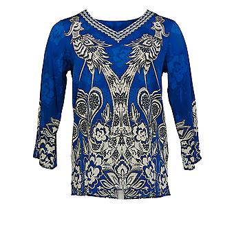 Bob Mackie Women's Top (XXS) Whimsical Phoenix Print Woven Blue A352098
