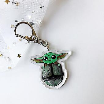 Movie Mandalorian Baby Yoda Keychain Cute Yoda & Mando Animated Children's Toy- Pendant Keychain Car  Key Chains Gift